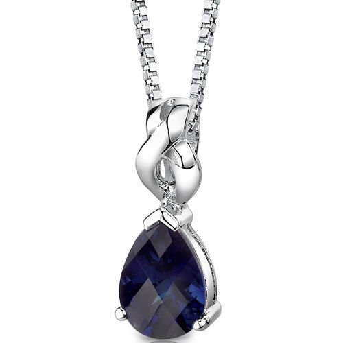 Revoni 925 Sterling Silver Pear Shape Blue Sapphire Pendant with Necklace of 46cm