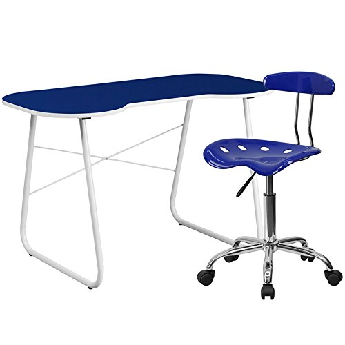 Flash Furniture Computer Desk And Tractor Chair, Navy