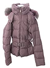 ADD Girl39s Fur Hood Belted Jacket Mauve