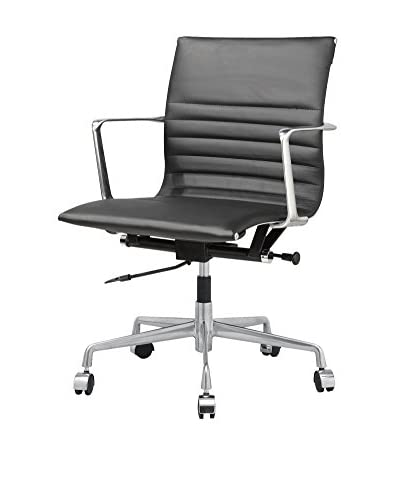 Meelano M346 Office Chair In Black Italian Leather