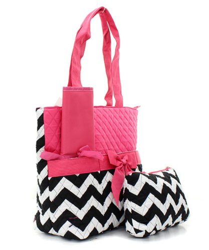 Quilted Hot Pink And Black/White Chevron Print 3 Piece Diaper Bag