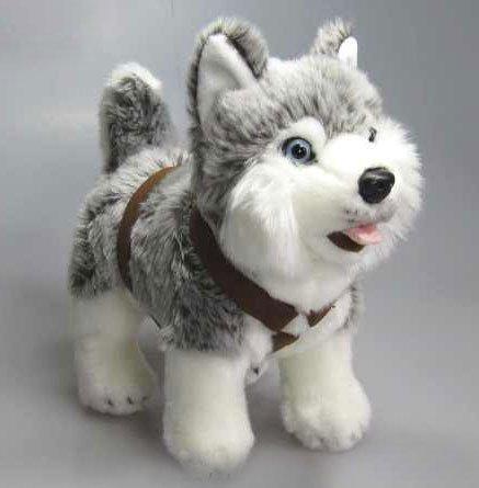 Husky Schlittenhund Hund mit Geschirr 25 cm Plüschhund