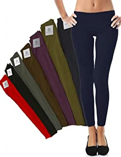 Mato & Hash Women's 90/10 Cotton Spandex Tights Pant Leggings Navy L