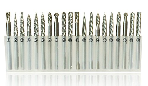 20pcs 3mm Shank Tungsten Steel Solid Carbide Rotary Files Diamond Burrs Set Fits Dremel Tool for Woodworking Drilling Carving Engraving
