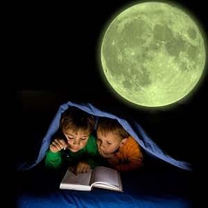 Bewild Large Glow In The Dark Bedroom Moon Repositionable Kids Wall Sticker