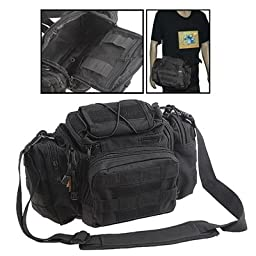 Multi-functional Nylon Fabrics Outdoor Military Camera Bag / Waist Bag(Black)