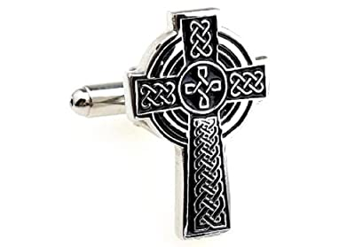 Celtic Cross Cufflinks with a Presentation Gift Box