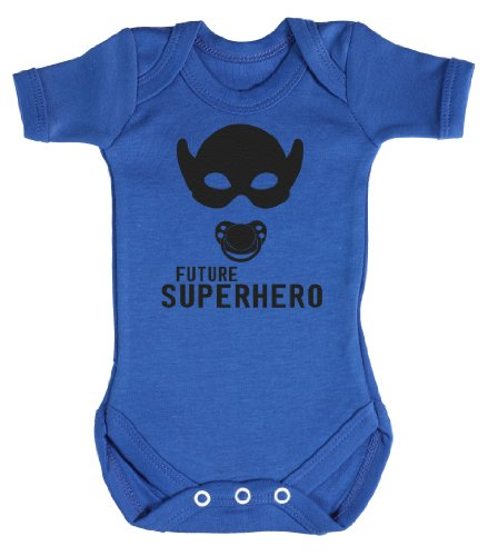 Baby Buddha - Future Superhero Funny Baby Grow 0-3M Blue front-727618