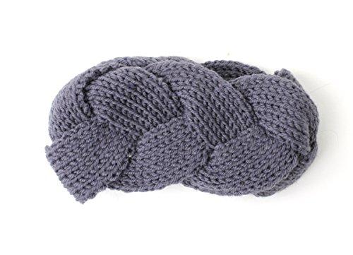 ブレードニットターバン ヘアバンド ニット メンズ レディース 三つ編み ヘアターバン (フリーサイズ, Charcoal)