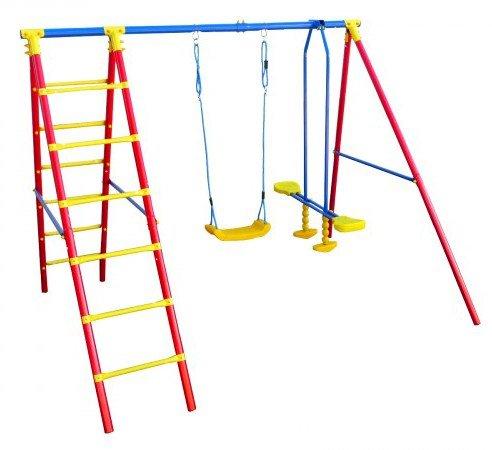 Kinderschaukelgerüst / Schaukelgestell aus Metall mit Leiter, Schaukelwippe und Schaukelbrett bestellen