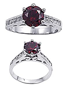Rhodium Plated Sterling Silver Wedding & Engagement Ring Garnet, Clear CZ Ladies Ring 8MM ( Size 4 to 10) Size 4