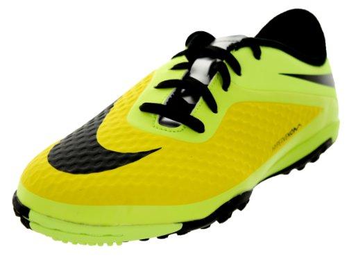 Nike Kids Jr Hypervenom Phelon Tf Vbrnt Yllw/Blk/Mtllc Slvr/Vlt Turf Soccer Shoe 2.5 Kids Us