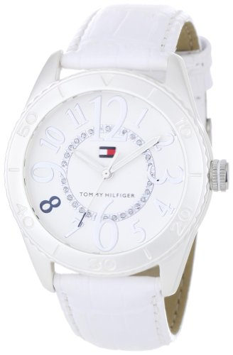 Tommy Hilfiger Women's 1781072 Sport Textured White Dial with Crystal Details White Croco Embossed Strap Watch