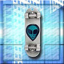 "Alien Face Skateboard Charm on a 30"" Black Cord - SC1208"