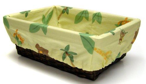 NoJo Jungle Babies Nursery Basket with Fabric Liner