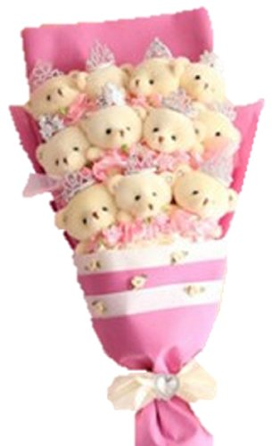 Cute Bear Bouquet Pink Wedding