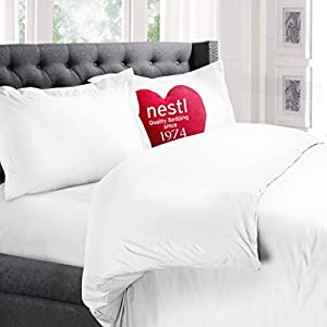 Nestl Bedding Microfiber Duvet Cover Set Includes 2 Pillow Shams - 3 Piece Queen (White)