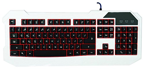 Carry360 3 Color Backlit Led Illuminated Ergonomic Usb Wired Gaming Keyboard For Desktop Laptop White And Black