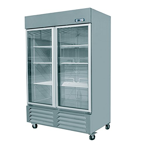 EQ Commercial Kitchen 2 Double Glass Door Merchandiser Refrigerator Cooler 54""