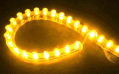 Cutequeen 24Cm Led Car Flexible Waterproof Light Strip Yellow (Pack Of 4)