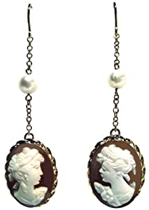 Cameo Earrings Conch Shell Sterling Silver 18k Gold Overlay Italian French Wire Fresh Water Pearl