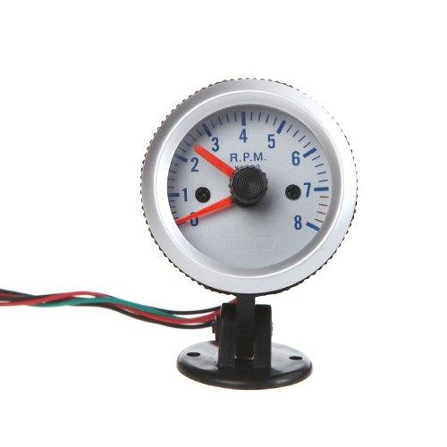 KKmoon Drehzahlmesser-Tach-Messgerät mit Halterschale für Auto Car 2 Zoll 52mm 0 ~ 8000 u/min blaues Licht