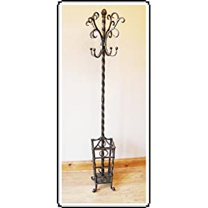 Deluxe coat hat & umbrella stand black metal wrought iron