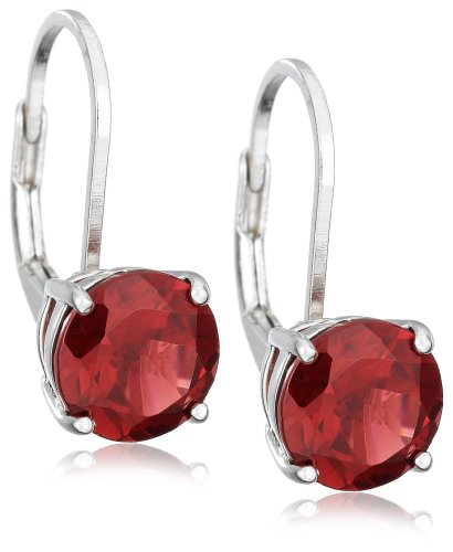 Sterling Silver 8mm Round Garnet Lever Back Earrings
