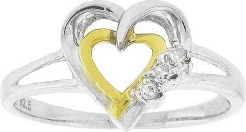 0.03cts White Diamond Heart Love Promise Ring 925 Silver