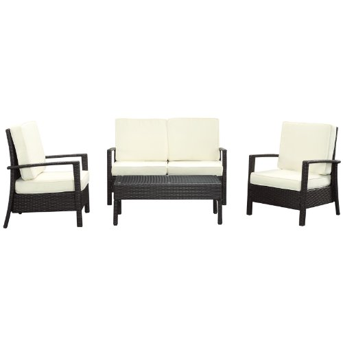 Courtyard 4 Piece Armchair Sofa Coffee Table Set in Espresso and White