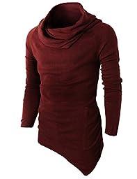 H2H Mens Casual Turtleneck Slim Fit Pullover Sweater Oblique Line Bottom Edge WINE US XL/Asia XXL (KMTTL046)