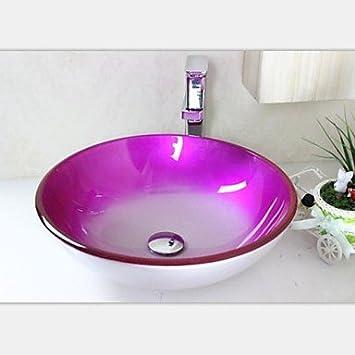 jjg moderne rosig edgetempered waschbecken aus glas mit wasserhahn set dc421. Black Bedroom Furniture Sets. Home Design Ideas