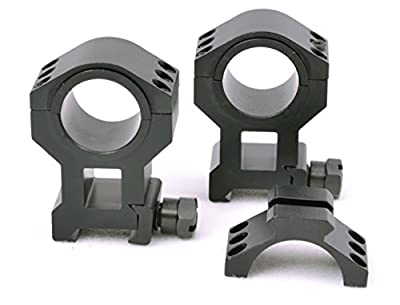 "Tms Heavy Duty Tactical High Scope Ring Set 30mm 1"" Picatinny With Accessory Rail Tops"