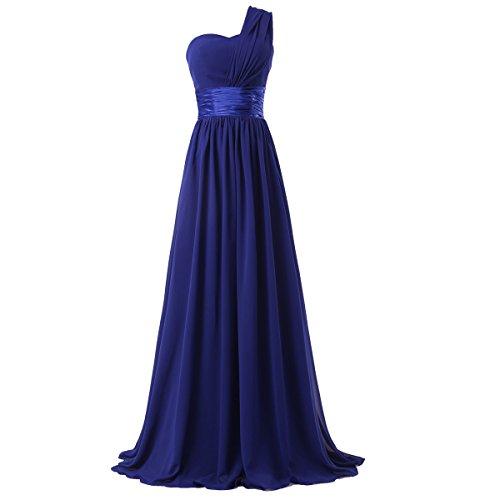 Fashion Plaza One-shoulder Chiffon Bridesmaid Formal Evening Party Dress D0126 (US12, Royal Blue)
