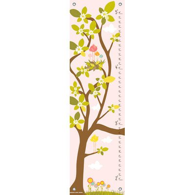 Oopsy Daisy in The Branches Finny and Zook Growth Charts, Pastel Pink, 12 x 42""