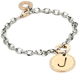 Amazoncom rebecca quotwordquot rose gold over bronze letter quotj for Letter j bracelet