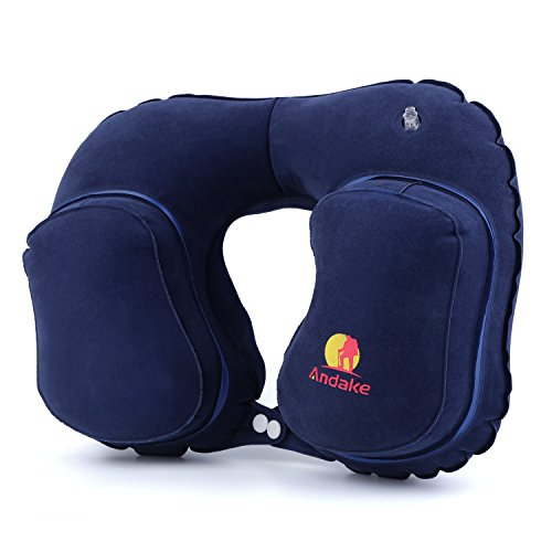 Andake Travel Pillow-Blow Up Support for Your Head,Neck and Chin, Deflate in a Handy Carry Pouch for Easy Carrying-Inflatable Neck Pillow with Flocking Surface to Get the Comfort with no Neck Pain