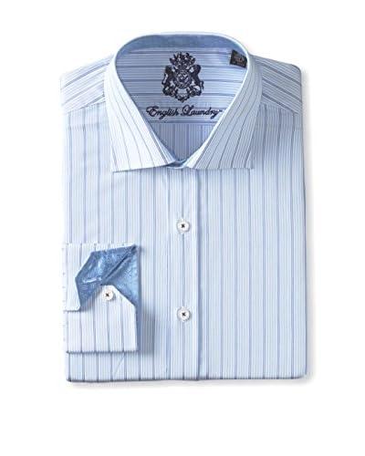 English Laundry Men's Thin Tonal Stripe Long Sleeve Shirt