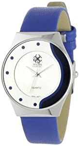 """Golden Classic Women's 5149_blue """"Color Balance"""" Modern Silver and Leather Watch"""
