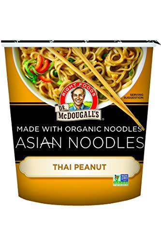 Dr. McDougall's Right Foods Asian Entree Thai Peanut Noodle, 1.9 Ounce Cups (Pack of 6) Non-GMO, No Added Oil, Made w/ Organic Steamed Noodles, Paper Cups From Certified Sustainably-Managed Forests