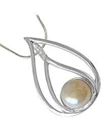 """Surat Diamonds Pearl Drop Sterling Silver Pendant With 18"""" Chain For Women (SDS232)"""