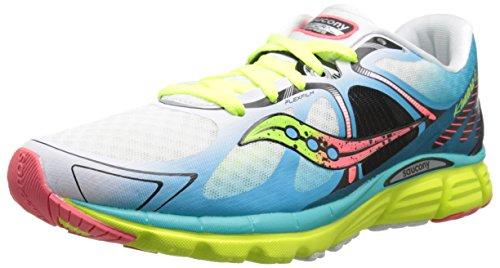 Saucony Women's Kinvara 6 Running Shoe, White/Blue/Coral, 8