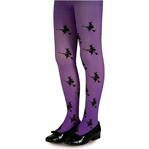 Purple Glitter Witch Child Tights