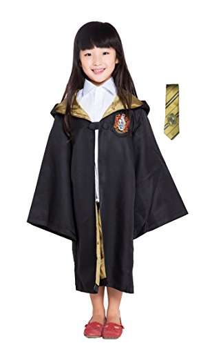 [Cohaco Harry Potter Gryffindor/Ravenclaw/Slytherin/Hufflepuff Deluxe Robe with Tie for Child (S(Height 41.3