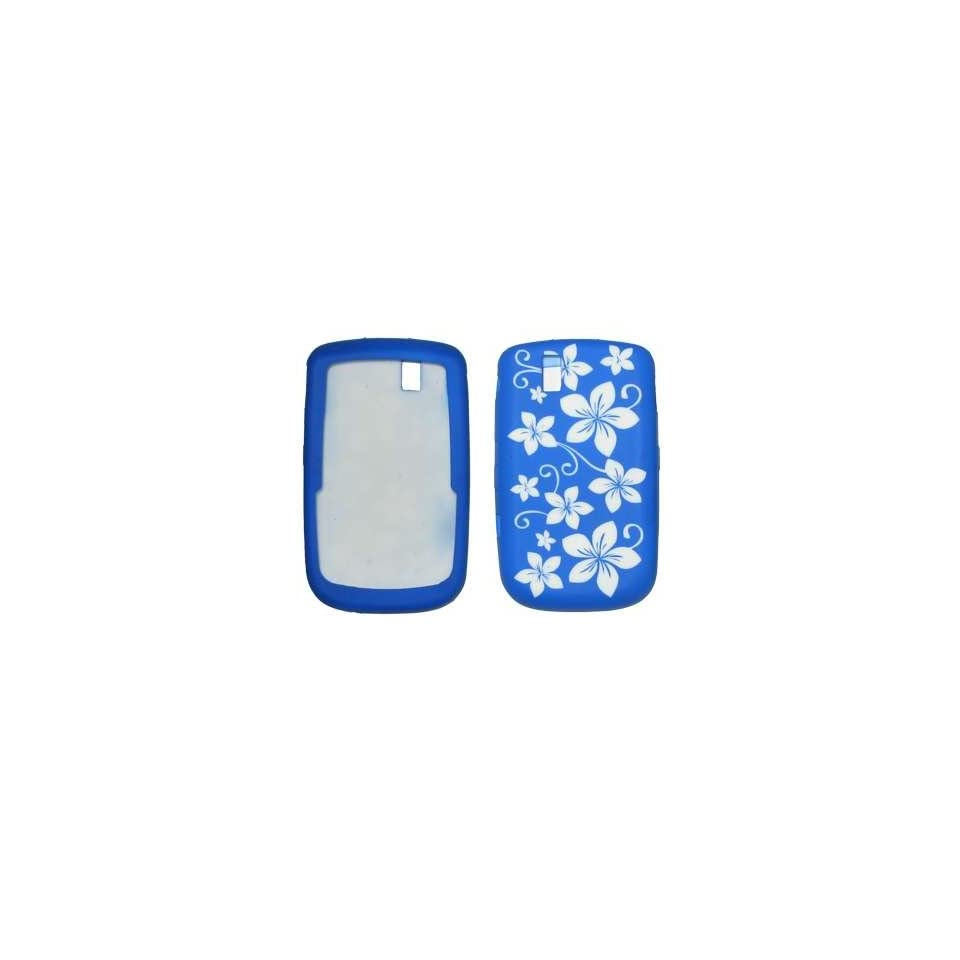 White and Blue Hawaii Flowers Design Soft Silicone Gel Skin Cover Case