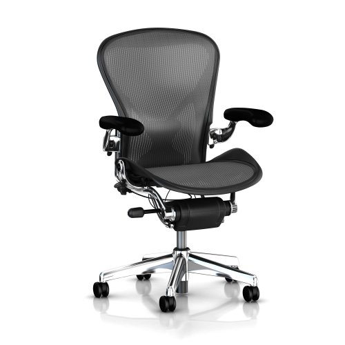 Executive Aeron Chair by Herman Miller - Polished Aluminum Frame - Leather Arms - PostureFit Lumbar - Nickel Classic Size A (Small)