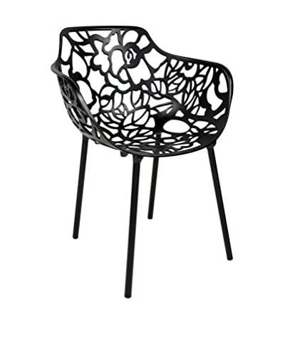 LeisureMod Modern Devon Aluminum Armchair, Black