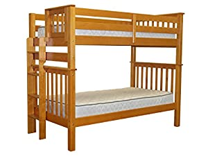 Bedz King Tall Mission Style Bunk Bed with End Ladder, Twin Over Twin, Honey from Bedz King