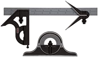 "Starrett C9-12-4R Combination Set, With Cast Iron Heads, Centering, Square And Protractor Heads, Black Wrinkle Finish, Satin Chrome Blade, 12"", 4R Grad"