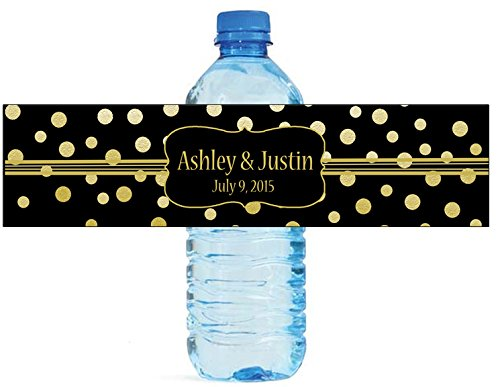 100-gold-confetti-black-background-wedding-water-bottle-labels-engagement-party-8x2